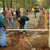 Salisbury: Volunteers from Timberland Company, Salisbury Coastal Trails, Coastal Trails Coalition and the Essex National Heritage Commission work on the Rabbit Road entrance of the Salisbury Point Ghost Trail on Tuesday morning. The trail, which begins at Lion's Park in Salisbury, will eventually connect to the Amesbury Riverwalk. Bryan Eaton/Staff Photo