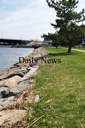 Newburyport: The shore at Cashman Park is littered with debris after the last few storms washed over the sea wall. Photo by Ben Laing/Staff Photo