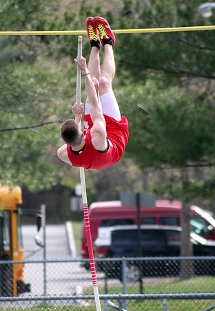 Byfield: Amesbury's Garrett King lifts off during the pole vault event at Wednesday's track meet at Triton. Photo by Ben Laing/Staff Photo