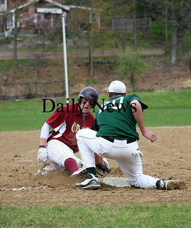 West Newbury: Newburyport's Kyle LeBlanc (7) is tagged out at thrid base by Pentucket's John Modlish (20) during the first inning of Monday's game in West Newbury. Photo by Ben Laing/Staff Photo