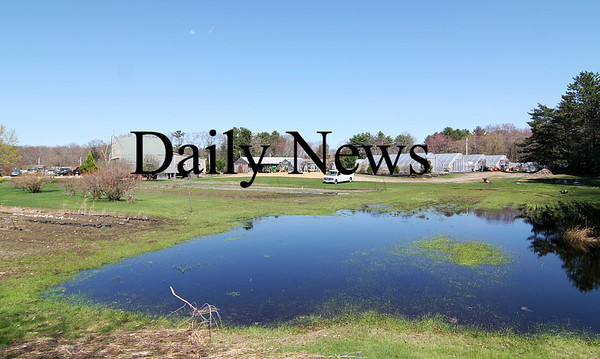Salisbury: Standing water remains on the property at Salisbury's Pettingill Farm, which has yet to dry out from the storms of the past few weeks. Photo by Ben Laing/Staff Photo