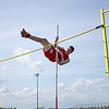 Byfield: Amesbury's Garrett King floats over the bar during the pole vault event at Wednesday's track meet at Triton. Photo by Ben Laing/Staff Photo