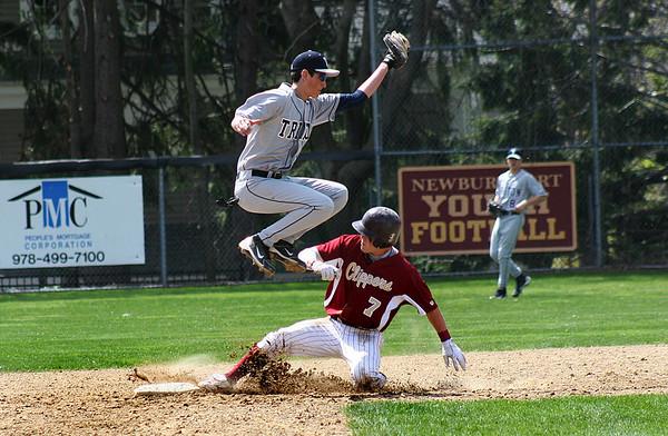Newburyport: Newburyport's Kyle LeBlanc (7) slides safely into second base while Triton second baseman, D'Agostino (5) leaps to catch an errant throw. Photo by Ben Laing/Staff Photo