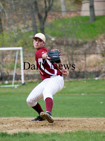 West Newbury: Newburyport's Kyle McElroy (3) delivers a pitch during Monday's game at Pentucket. Photo by Ben Laing/Staff Photo