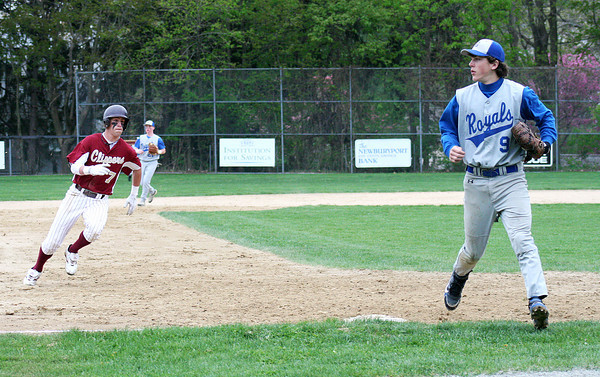 Newburyport: Newburyport's Kyle LeBlanc (7) charges around third base on his way into home for the Clippers' only run of Tuesday's game against Georgetown. Photo by Ben Laing/Staff Photo