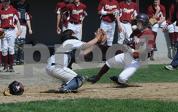 Newburyport:Maimonides catcher Jacob Blitstein waits for the ball as Newburyport's DJ Grabowski slides home during their game at the Lower Field in Newbiuryport Sunday.Grabowski was out on the play. Jim Vaiknoras/STaff photo