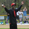 "Byfield: Former Red Sox pitcher Dennis ""Oil Can"" Boyd greets the crowd at Opening Day at the Martha Pearson Field in Byfield Sunday morning. jim Vaiknoras/Staff photo"