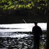 Amesbury: Sam Martin of Merrimac fishes along the Merrimac River on Main Street in Amesbury Thursday night. Jim Vaiknoras/Staff photo