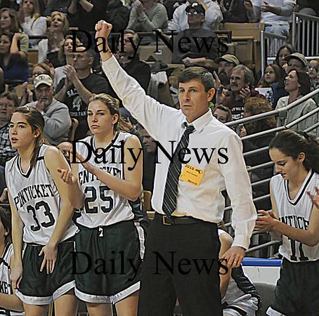 Pentucket girls basketball coach John McNamara at the State Championship game at the DCU Center in Worcester. Jim Vaiknoras/Staff photo