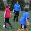 Newburyport: Claire Zimmeck of the Boston Breakers works with the Newburyport Youth Soccer u12  players during a clinic she gave to the boys at Cherry Hill in Newburyport Thursday night. Jim Vaiknoras/Staff photo