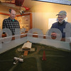 Newbury: Ted Russell, left and Bruce Carter look over a diorama they built of  the airfield  in Burgess Aviation Museum at the Plum Island airportas it would have looked in 1910. They will be celebrating the 100th anniversary of the first flying field in New England there on April 17th.<br /> <br /> . Jim Vaiknoras/Staff photo