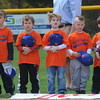Byfield: The Mets Tball team take of ftheir hat for tthe singing of the National Anthem at Opening Day at the Martha Pearson Field in Byfield Sunday morning. jim Vaiknoras/Staff photo