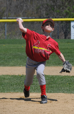 Amesbury:Ben McCafee, who plays for the Cardinals, pitches during their opening day game against the Orioles Saturday at the Cashman School in Amesbury. Jim Vaiknoras/Staff photo