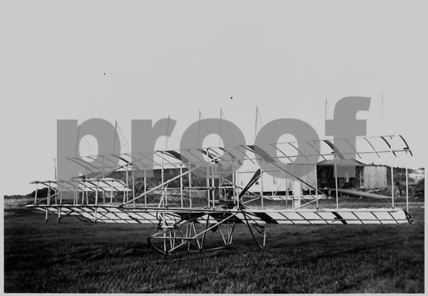 "Herring-Burgess #2 biplane in front of ""aviation station"", Plum Island, April 1910"