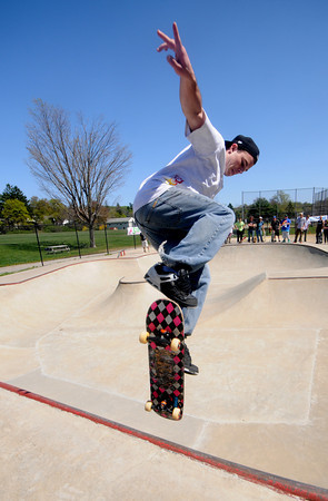 """Newburyport:Tyler Bain of West Newbury competes in the """"Bowls of Steez""""<br /> at Newburyport Skatepark Saturday afternoon. The contest was part of a funraiser for the park sponsored by Steez Magazine. Jim Vaiknoras/Staff photo"""