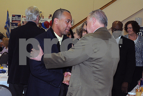 Newburyport: Governor Deval Patrick is greeted by Newburyport resident Hugh Kelleher at a campaign stop at Nicholson Hall in Newburyport Saturday morning. Jim Vaiknoras/Staff photo