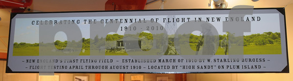 Newbury: A sign up over a diorama they built of  the airfield  in Burgess Aviation Museum at the Plum Island airportas it would have looked in 1910. They will be celebrating the 100th anniversary of the first flying field in New England there on April 17th.<br /> <br /> . Jim Vaiknoras/Staff photo