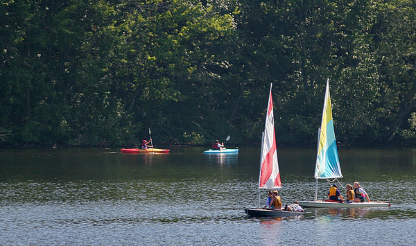 Amesbury: Boaters enjoy a nice sunny day on Lake Gardner in Amesbury Tuesday morning. Photo by Ben Laing/Staff Photo