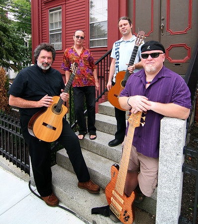 Newburyport: The Latin Quarter, from left, John Tavano, Roger Ebacher, Benjamin Goldbaum, and Paul Eddy. The group will be performing at the Actor's Studio at the Tannery Sunday afternoon. Photo by Ben Laing/Staff Photo