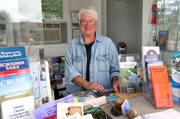 Newburyport: Ellen Taplin at the Newburyport information booth near the Firehouse. Photo by Ben Laing/Staff Photo