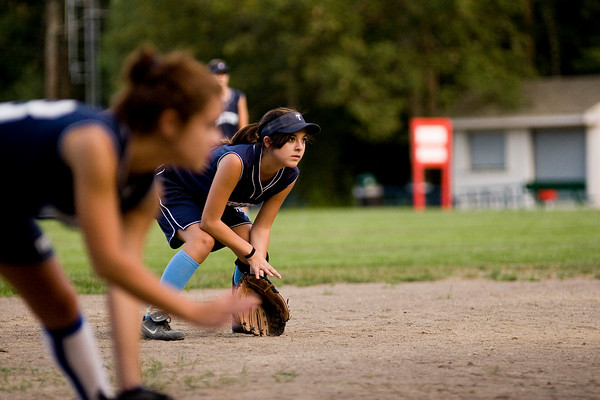 Rowley: Triton short stop, Sam Primpas (8), waits for a ground ball during Wednesday night's U14 softball game against Ipswich. Photo by Ben Laing/Staff Photo