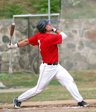 Newburyport: Jimmy Conway (1) hits a pop fly for Newburyport durng Tuesday evenings game against North Andover at Newburyport High School. Photo by Ben Laing/Staff Photo