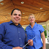 West Newbury: Tony Beatrice is taking the baton from Karen Mundo as conductor of Merrimack Valley Concert Band standing under the bandstand behind the 1910 Building in West Newbury. Bryan Eaton/Staff Photo