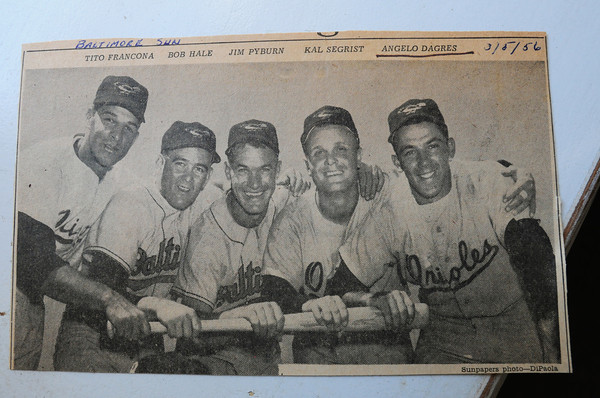 "Rowley: Newburyport's Angelo ""Junior"" Dagres, far right, with fellow Baltimore Orioles, including Red Sox general manager Terry Francona's father, Tito, left. Bryan Eaton/Staff Photo"
