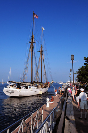 Newburyport: Several dozen people were at the boardwalk as the Alabama tied up at Newburyport's boardwalk just past 5:00p.m. yesterday afternoon. The public will be able to board the ship for tours today. Bryan Eaton/Staff Photo