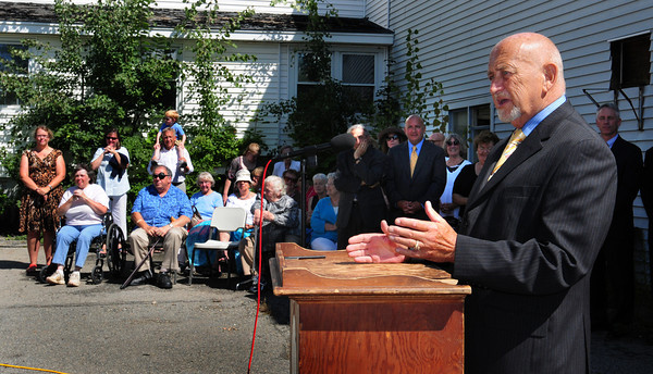 Amesbury: Nicholas Costello speaks to the 100 people who attended the groundbreaking of the new transportation center in Amesbury which is being named for him. Bryan Eaton/Staff Photo