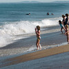 Salisbury: Children check out the heavy waves at Salisbury Beach in the vicinity of 146 Central Avenue. Six swimmers were caught by riptides in that area but were able to get out before rescuers arrived. Bryan Eaton/Staff Photo