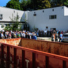 Amesbury: Over 100 people showed up, including over a dozen senior citizens, at the ground breaking of Amesbury's new transportation center as dumpsters are in place for the debris of the buildings to be taken down. The complex will also house the town's new Senior Citizen Center as well. Bryan Eaton/Staff Photo