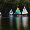 Amesbury: Teens in the Amesbury Recreation Department's Sailboating Program move along Lake Gardner across from Glen Devin Condominiums on Tuesday morning. The program at the town park ended last week, but the boating program ends a week from Friday as the children get ready to head back to school. Bryan Eaton/Staff Photo