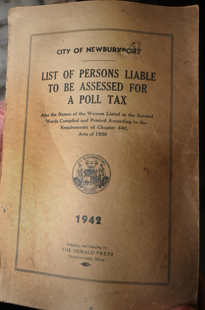 Newburyport: A poll tax book from 1942 found in the basement of Newburyport City Hall. JIm Vaiknoras/Staff photo