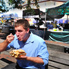 Newburyport: Daily News intern David Lewis loved the chowder in a bread bowl from the Traveling Chef as he eats his way through a day at Yankee Homecoming for $20. Bryan Eaton/Staff Photo