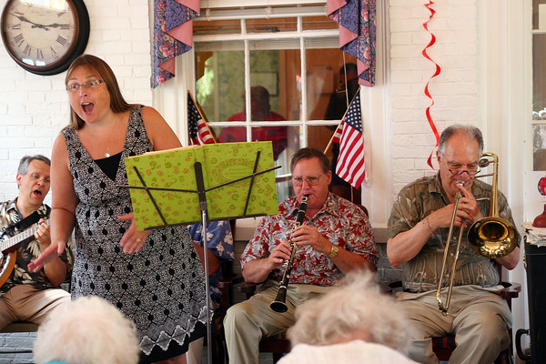 Newburyport: The Dick Kaplan Band performs at Brigham Manor Wednesday afternoon. The band tours the nursing homes in town to perform for the residents during Yankee Homecoming. Photo by Ben Laing/Staff Photo