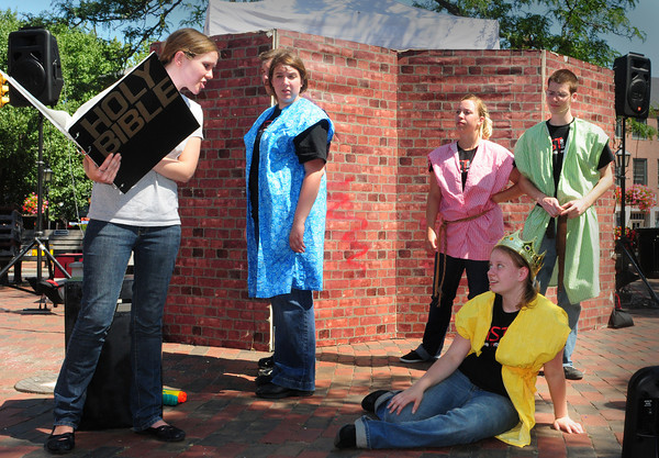Newburyport: The Creative Arts Services Team of the Salvation Army performed several skits in Market Square yesterday morning. Bryan Eaton/Staff Photo