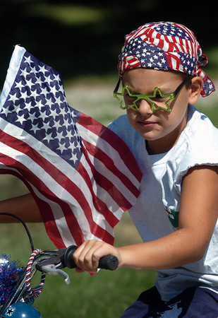 Newburyport: Trever Sabatino, 7, of Byfield had the American soldier theme for his bike entry for Kids Day in the Park with the star-shaped glasses representing parts of the army uniform. Bryan Eaton/Staff Photo