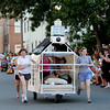 Newburyport: The Old South Church entry makes it's way down Federal Street in the Yankee Homecoming Bed Race in Newburyport Thursday night. Jim Vaiknoras/Staff photo