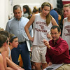 Newburyport: Newburyport's new girls varsity head basketball coach, Gregg Dollas, addresses his team during a time out at Tuesday night's scrimmage against Haverhill. Photo by Ben Laing/Staff Photo