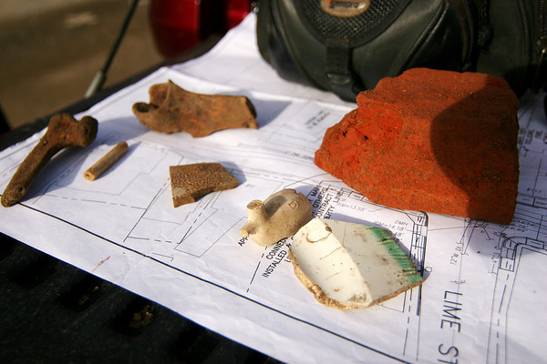 Newburyport: Several artifacts have been discovered at the construction site for the new waste water treatment plant on Water Street in Newburyport. Among them are a tobacco pipe, pottery shards and bones. Photo by Ben Laing/Staff Photo