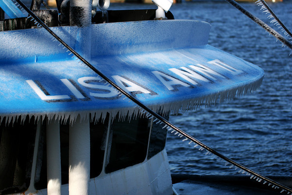 Newburyport: The Lisa Ann II returned to port Thursday morning covered in icicles from a trip out to sea. Photo by Ben Laing/Staff Photo<br /> , Newburyport: The Lisa Ann II returned to port Thursday morning covered in icicles from a trip out to sea. Photo by Ben Laing/Staff Photo