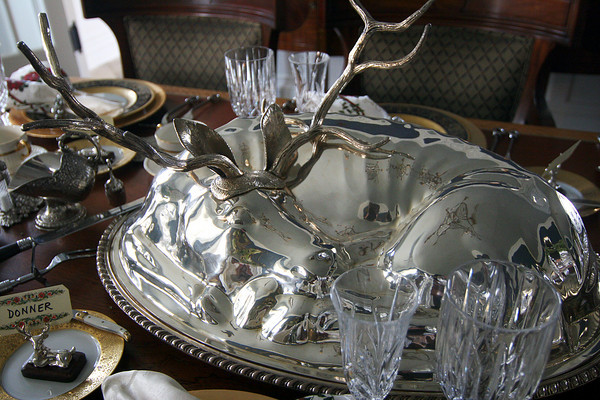 Newburyport: A reindeer serving dish is the center piece for the dinning room at 182 High Street, one of several homes on display for this Saturday's Holiday House tour. Photo by Ben Laing/Staff Photo