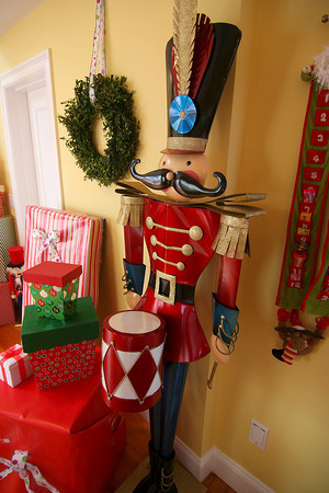 Newburyport: A life size nutcracker and a stack of presents at 343 High Street in Newburyport is ready for this Saturday's Holiday House Tour. Photo by Ben Laing/Staff Photo