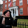 Newburyport: Mayor Holaday, standing outside the Tracy Mansion which serves as the city's library, is looking to develop a GPS-driven walking history tour of the city highlighting its place in American history. Bryan Eaton/Staff Photo