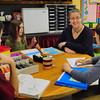 Newbury: Newbury Elementary School's new vice principal Heather Leonard chats with some fourth grade students, from left, Thomas Marshall, Paige Cukowski, and Franklin Cohen, all 10. Bryan Eaton/Staff Photo