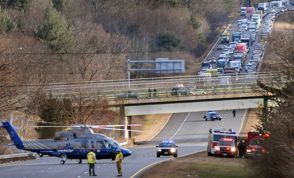 Merrimac: Both lanes of traffic on Interstate 495 in Merrimac were closed Monday morning due to a northbound crash requiring a MedFlight helicopter to transfer the victim to a Boston hospital. This southbound traffic was diverted to Broad Street to connect with Route 110. Bryan Eaton/Staff Photo