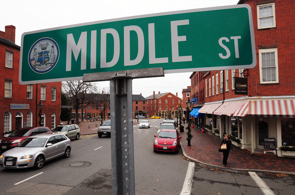 Newburyport: The Middle Street sign at State Street in Newburyport is all upper case letters. The federal government wants to change that by 2015 making the first letter of a word upper case and the following letters in lower case. Bryan Eaton/Staff Photo