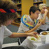 Amesbury: Amesbury Middle School sixth-graders had an ancient Egyptian Feast on Wednesday, sampling foods from left, Elijah Jackman, 12, Ian Ring and Jasper Baily-Gould, both 11. They wrote down their observations of smell, taste and texture of what the pharoahs would have eaten while dressed in period costumes. Bryan Eaton/Staff Photo