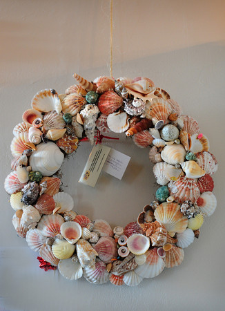 Newburyport: A wreath made of seashells at the Custom House Maritime Museum is one of several up for auction. Bryan Eaton/Staff Photo